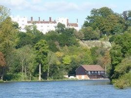 Danesfield Hotel on the hill, RAF rowing club below